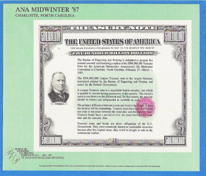 BEP souvenir card B 102 FUN 1987 face 1874 $1 Legal Tender note Washington