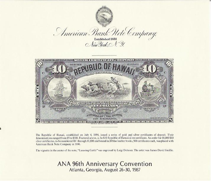 1988 ABNCo  Souvenir Card SO60 $50.00 Bank of Hawaii Silver Certificate